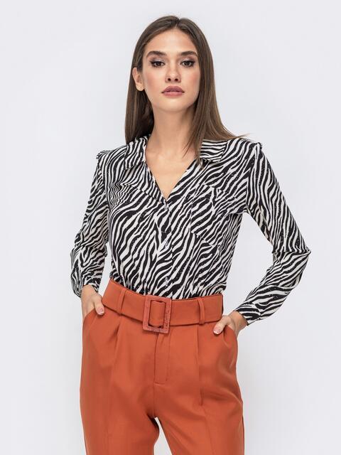 Блузка с анималистическим принтом черно-белая - 41268, фото 1 – интернет-магазин Dressa