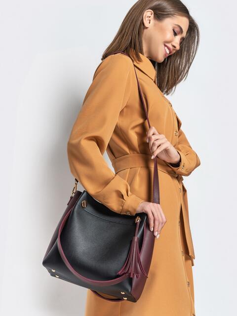 Чёрная сумка-тоут с контрастными вставками и кисточкой - 20569, фото 1 – интернет-магазин Dressa