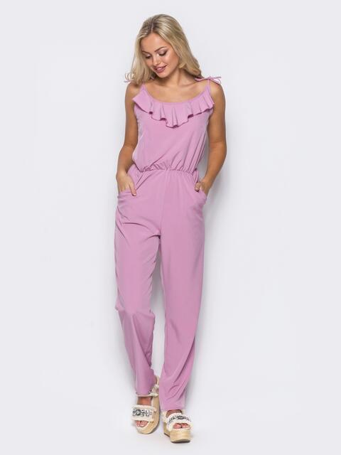 Комбинезон на узких бретелях с оборкой на полочке розовой - 10420, фото 1 – интернет-магазин Dressa