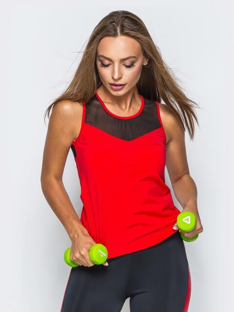 Красная спортивная майка с черной эластичной сеткой - 17205, фото 1 – интернет-магазин Dressa