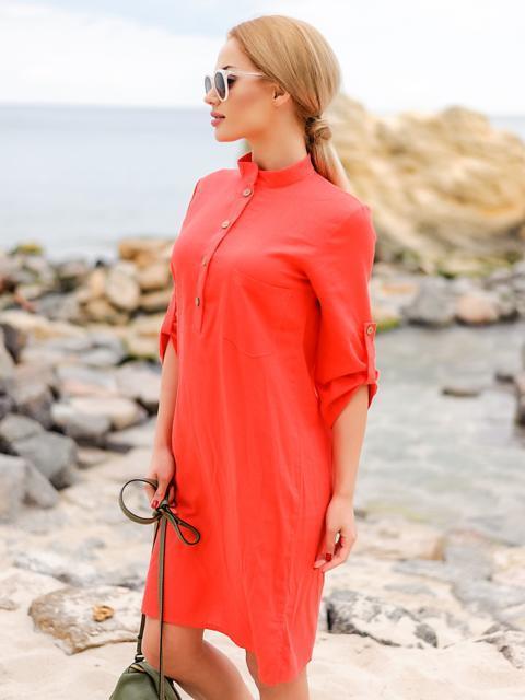 Красное льняное платье-рубашка прямого кроя с пуговицами - 12546, фото 1 – интернет-магазин Dressa