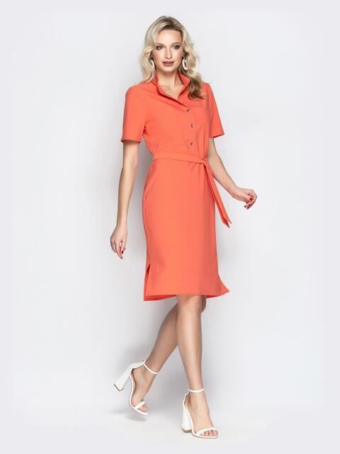 Оранжевое платье-рубашка с короткими рукавами - 20612, фото 1 – интернет-магазин Dressa