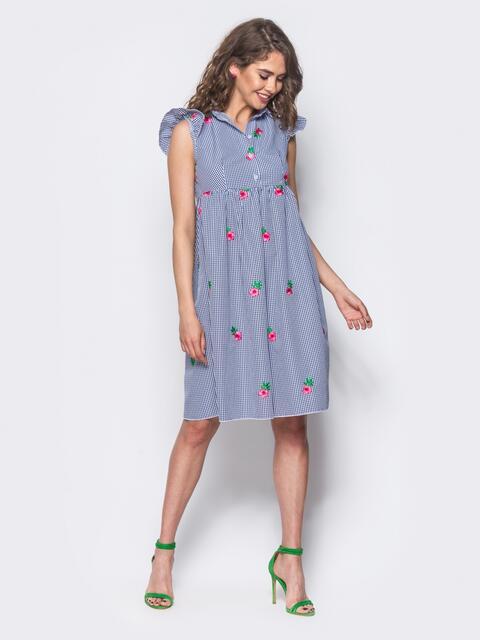 Платье-рубашка с рюшей на пройме и воланом серое - 11654, фото 1 – интернет-магазин Dressa