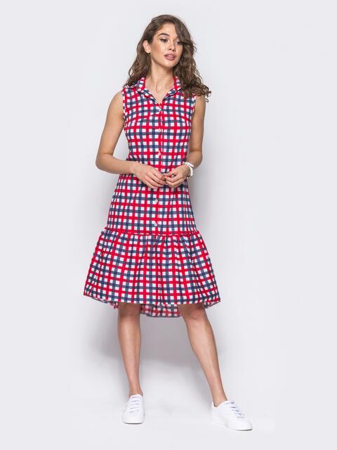 Платье-рубашка в красно-голубую клетку с удлиненной спинкой - 11646, фото 1 – интернет-магазин Dressa