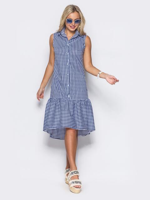 Платье-рубашка в синюю клетку с удлиненной спинкой - 11649, фото 1 – интернет-магазин Dressa