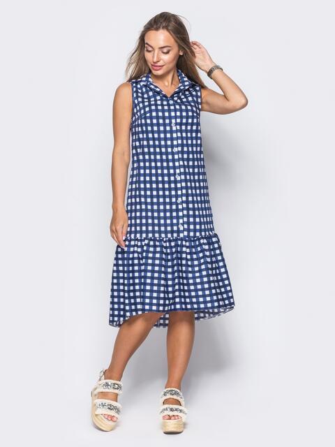 Платье-рубашка в темно-синюю клетку с удлиненной спинкой - 11647, фото 1 – интернет-магазин Dressa