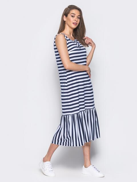 Платье свободного кроя в полоску с оборкой по низу - 11929, фото 1 – интернет-магазин Dressa