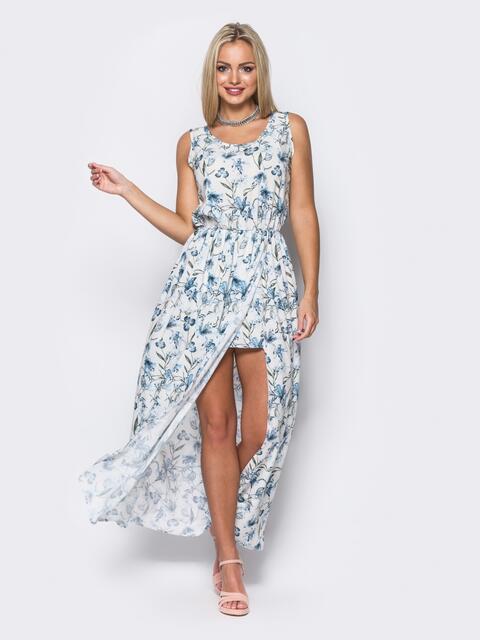 Платье в пол с двойным низом белое - 11644, фото 1 – интернет-магазин Dressa