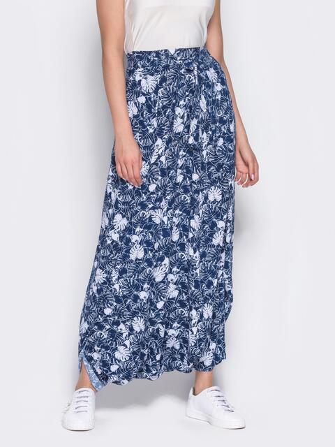 Принтованная юбка-трансформер синяя - 12888, фото 1 – интернет-магазин Dressa