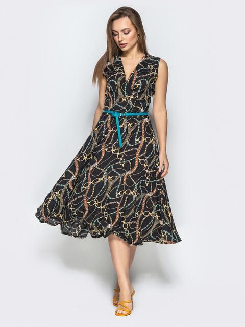 Принтованное платье с запахом и юбкой-полусолнце чёрное - 22183, фото 1 – интернет-магазин Dressa