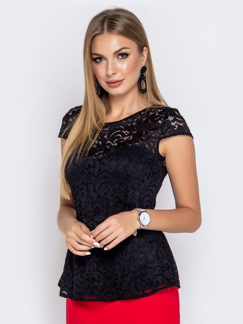 """Приталенная блузка с рукавом """"крылышко"""" чёрная - 40811, фото 1 – интернет-магазин Dressa"""