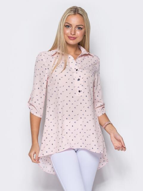 Розовая блузка в принт с удлинением по спинке - 10261, фото 1 – интернет-магазин Dressa