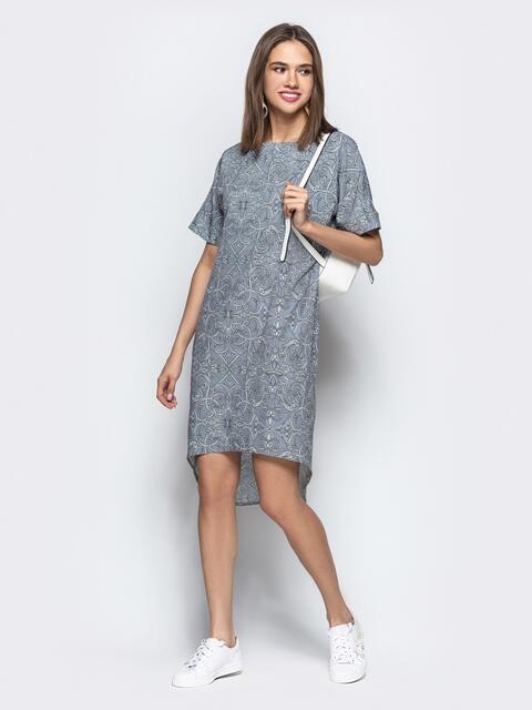 Серое платье с геометрическим принтом в стиле casual - 21971, фото 1 – интернет-магазин Dressa