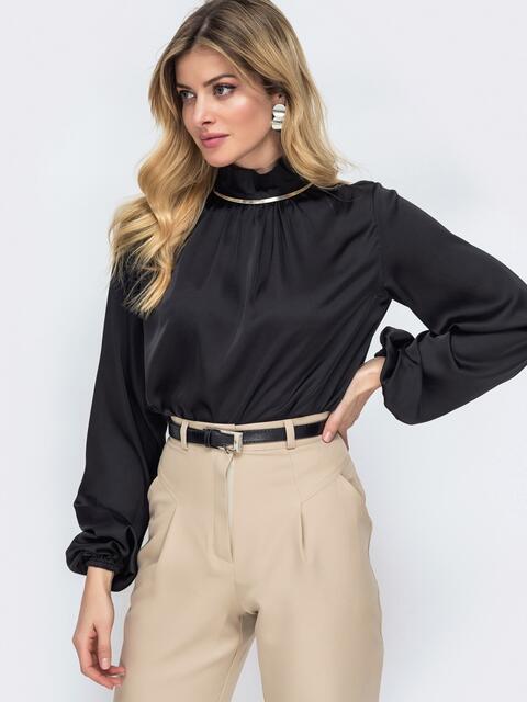 Шелковая рубашка с воротником-стойкой чёрная 45749, фото 1