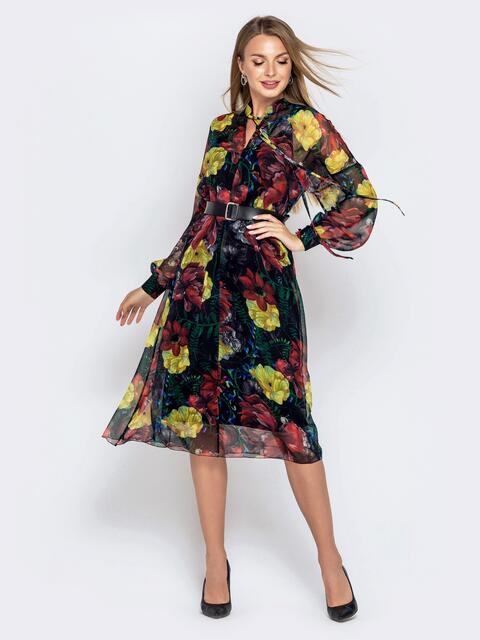 Шифоновое платье с принтом и воротником-аскот зеленое - 40817, фото 1 – интернет-магазин Dressa