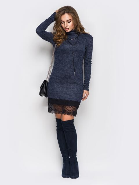 Синее трикотажное платье с кружевной оборкой  - 13460, фото 1 – интернет-магазин Dressa