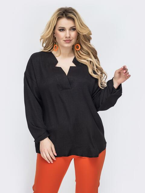 Свободная блузка батал с фигурным вырезом чёрное 45227, фото 1