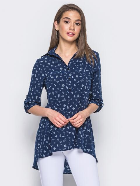 Тёмно-синяя блузка в принт с удлинением по спинке - 10259, фото 1 – интернет-магазин Dressa