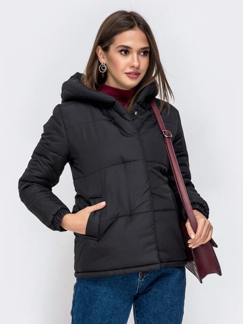 Укороченная куртка с вшитым капюшоном чёрная 41299, фото 1
