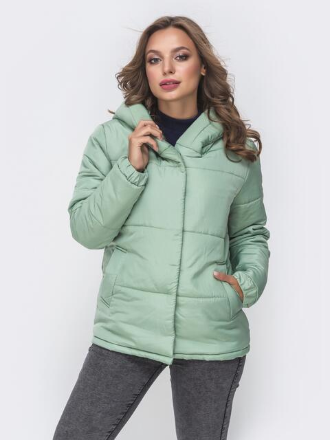 Укороченная куртка с вшитым капюшоном зеленая 41301, фото 1
