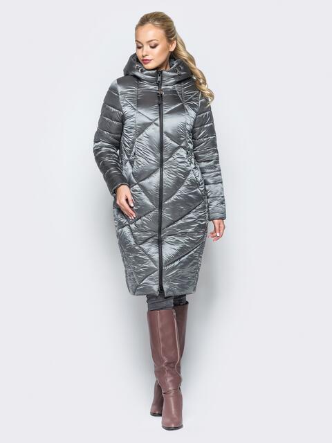 Зимняя куртка бежевого цвета с кулиской на капюшоне - 16993, фото 1 – интернет-магазин Dressa