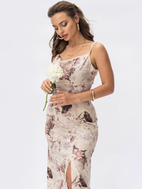Бежевое платье-комбинация в цветочный принт с разрезом на юбке 54414, фото 1