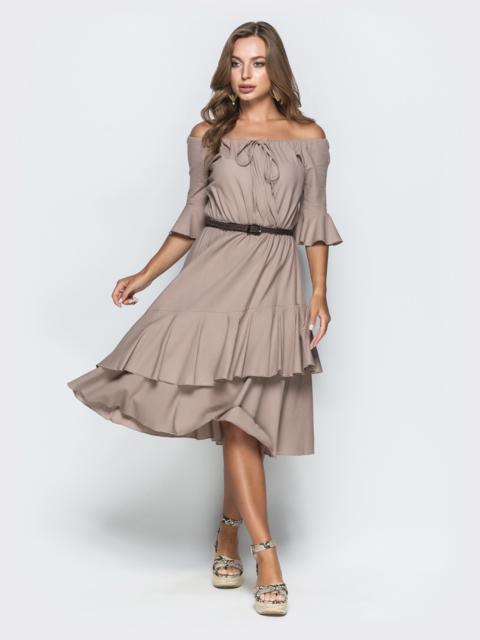 Бежевое платье с открытыми плечами и двухслойной юбкой 39002, фото 1