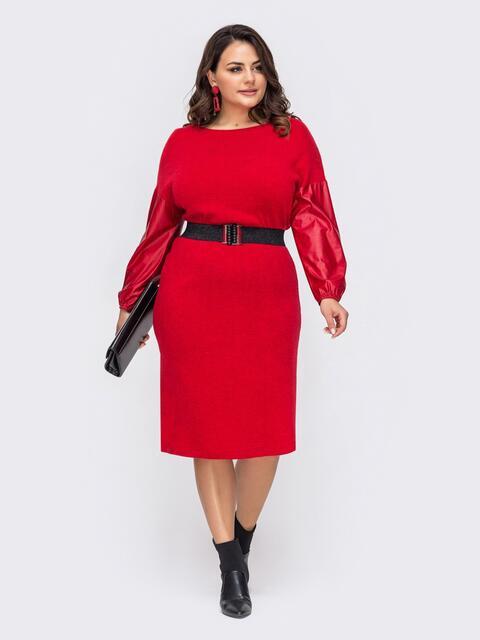 Красное платье батал с рукавами из эко-кожи 51529, фото 1