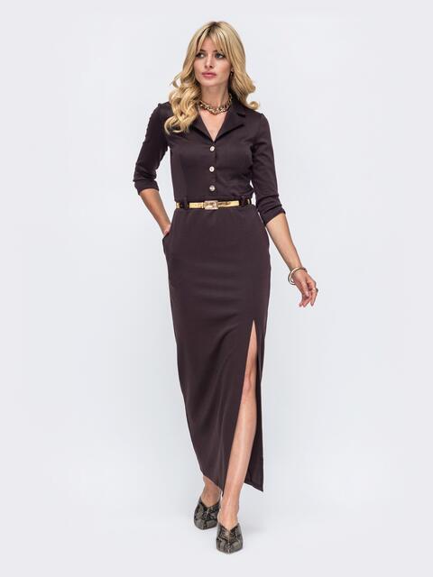 Обтягивающее платье коричневого цвета с высоким разрезом  50577, фото 1