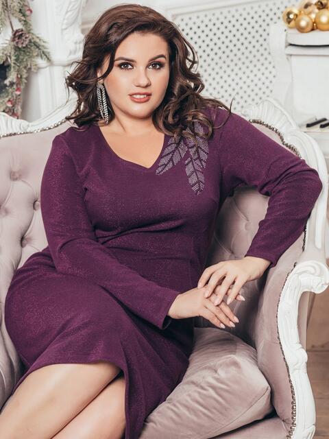 Платье большого размера с люрексом бордовое 43266, фото 1