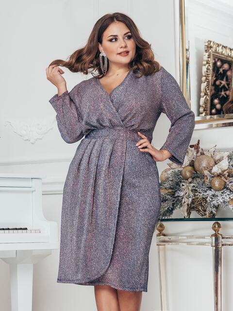 Платье большого размера с люрексом серое 43243, фото 1