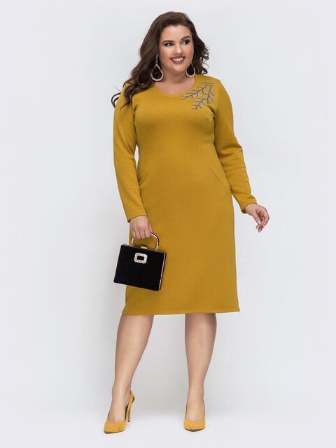 Трикотажное платье большого размера с люрексом желтое 43256, фото 1