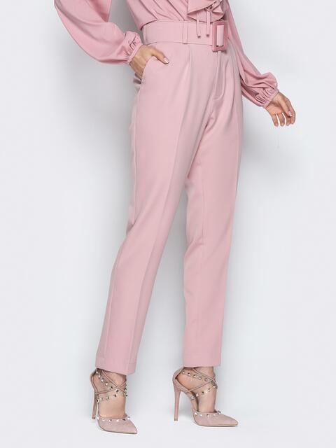 Розовые брюки высокой посадкой и широким поясом - 21267, фото 1 – интернет-магазин Dressa