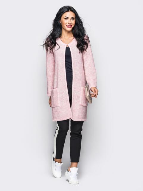 Розовый вязаный кардиган с накладными карманами - 10379, фото 1 – интернет-магазин Dressa