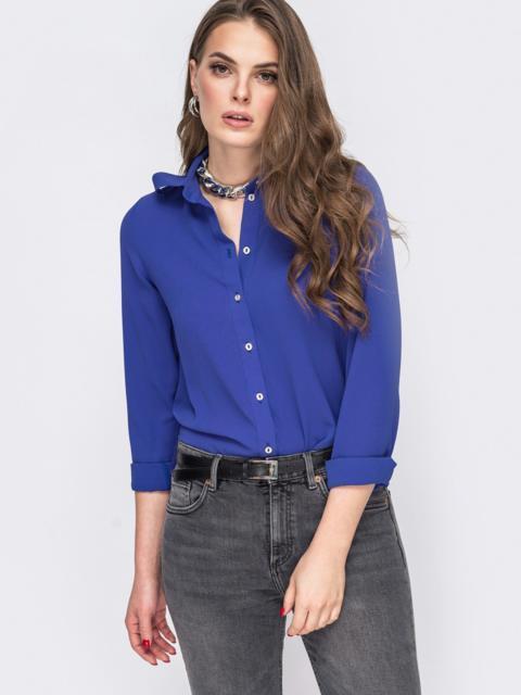 Свободная блузка синего цвета 45884, фото 1