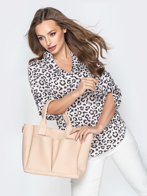 Бежевая сумка-тоут с двумя внешними карманами - 20577, фото 1 – интернет-магазин Dressa