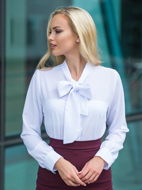 Блузка с воротником, переходящим в бант белая - 14115, фото 1 – интернет-магазин Dressa