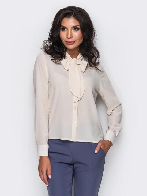 Блузка с воротником, переходящим в бант бежевая - 12215, фото 1 – интернет-магазин Dressa