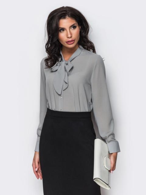 Блузка с воротником, переходящим в бант серая - 10131, фото 1 – интернет-магазин Dressa
