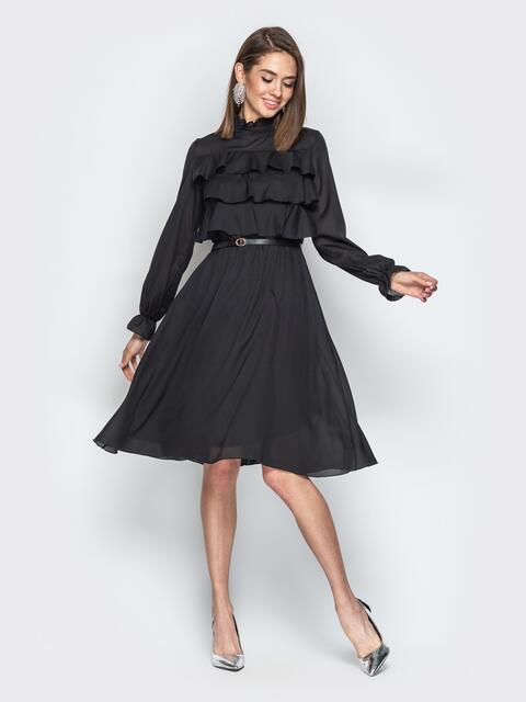 Чёрное платье с воланами по верху и юбкой-клёш - 20845, фото 1 – интернет-магазин Dressa