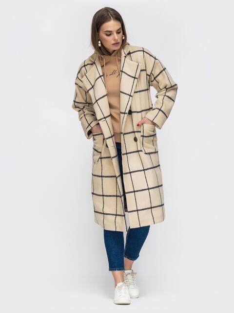 Двубортное пальто бежевого цвета в клетку - 45213, фото 1 – интернет-магазин Dressa
