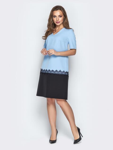 Голубое платье прямого кроя с коротким рукавом - 21032, фото 1 – интернет-магазин Dressa