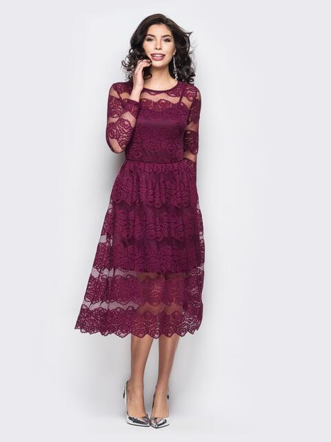 Коктейльное платье бордового цвета из гипюра - 18218, фото 1 – интернет-магазин Dressa