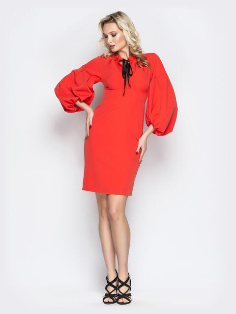 Коралловое платье объемными рукавами и завышенной талией 20849, фото 1