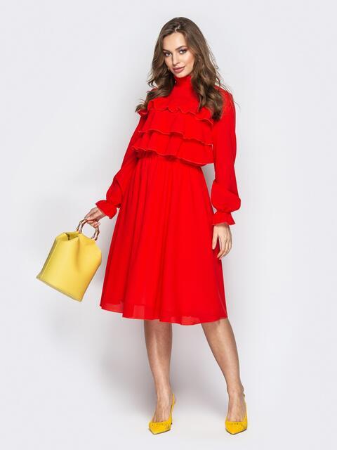 30e8523a404 Красное платье с воланами по верху и юбкой-клёш 20846 – купить в ...