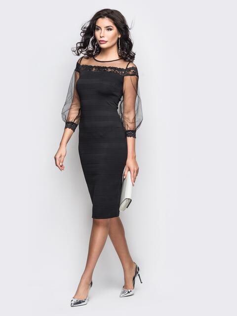 Платье из дайвинга с фатиновой кокеткой и рукавами черное - 11246, фото 1 – интернет-магазин Dressa