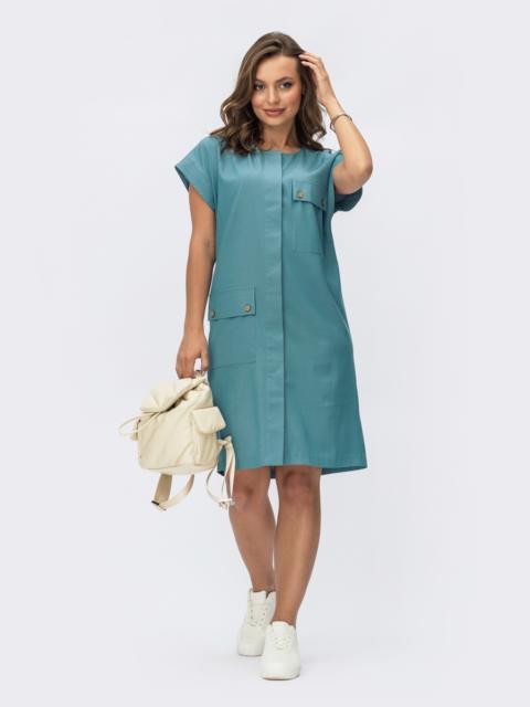 Платье из джинса на пуговицах со спущенным плечом голубое 54363, фото 1