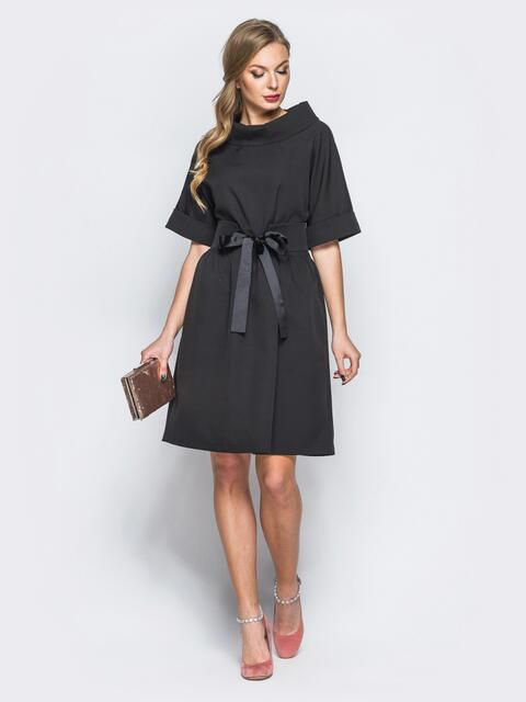Платье из костюмной ткани с втачным поясом черное - 18220, фото 1 – интернет-магазин Dressa