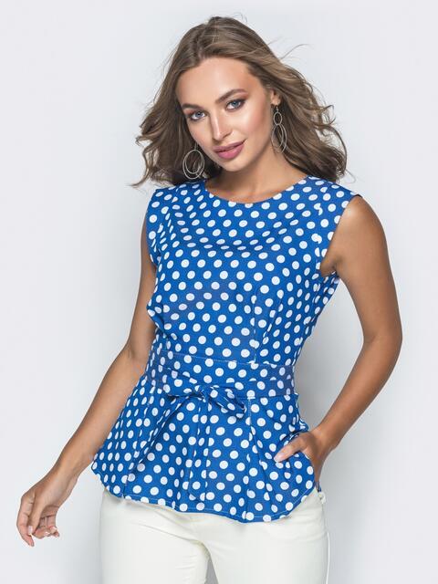 Приталенная блузка в горох с молнией по спинке синяя - 38410, фото 1 – интернет-магазин Dressa