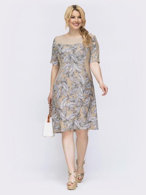 Приталенное платье батал с принтом бежевое 46436, фото 1